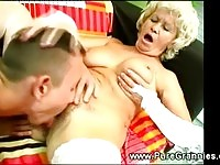 A bustuy blonde granny gets licked